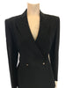 Up-close front view of a black Thierry Mugler two piece blazer and skirt set.