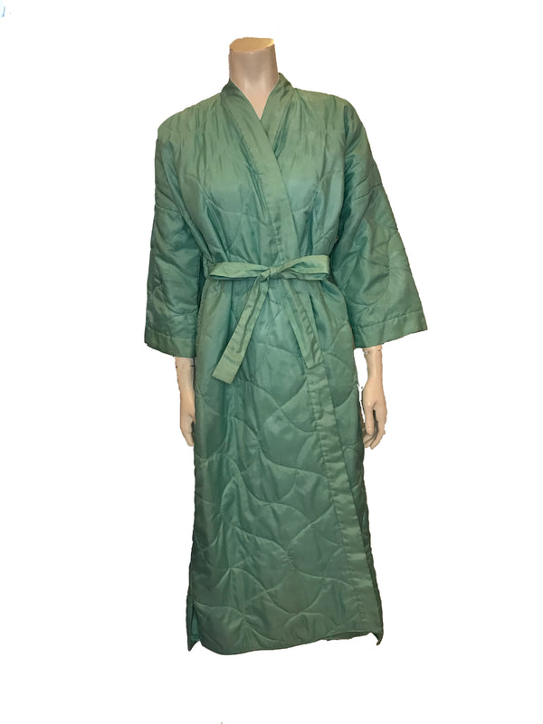 Front view of mannequin in a 1960s light turquoise quilted robe