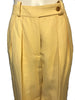 Closeup front view of yellow linen women's trousers by Sonia Rykiel