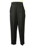 Black, cotton, pleated trousers with four-button waistband detail.