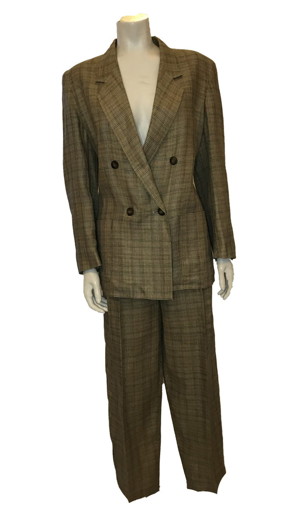 Front view of brown plaid women's pant suit by Jaeger