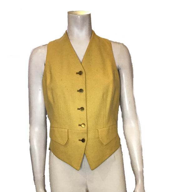Yellow, wool vest with flap-pockets and gold buttons.