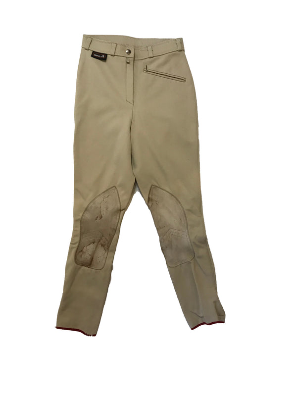 Khaki, stretchy breeches with a diagonal zip-pocket and distressed, leather knee-patches.