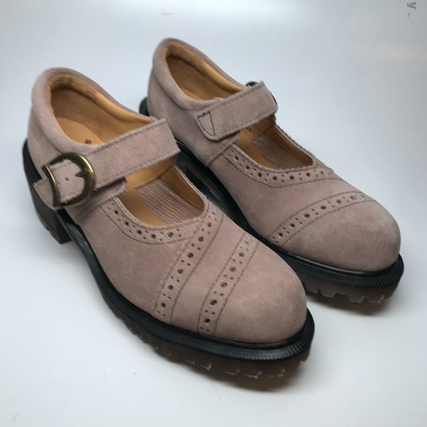 Lavender suede brogue mary jane shoes by Dr. Martens