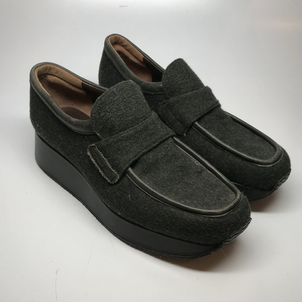 1990s Stephane Kelian platform loafer shoes with fabric upper and leather trim