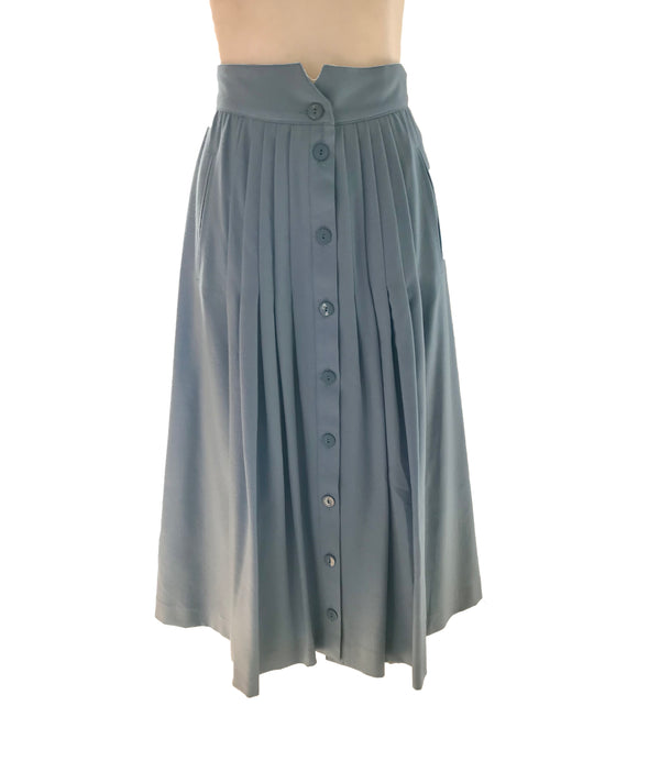 Front view of Escada button down Midi skirt with pleating on both sides.
