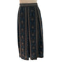 Blue and brown, striped, pleated midi-skirt with accent-stripes of paisley.