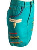 1980s turquoise denim pencil skirt with multicolored ric rac appliques