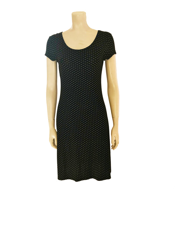 Black with flecks of white, stretchy, a-line, knee-length dress with short-sleeves.