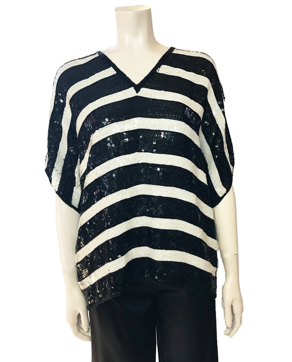 Black & white, sequined,  horizontal-striped, square-cut, v-neck top.