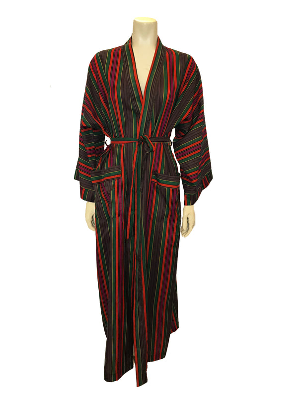 (Front View)   Full length robe featuring a vertical stripe pattern in shades of green, orange, red, yellow, and black with long sleeves, pockets at the front, and a sash belt.