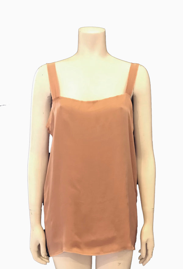 ( Front View) Sleeveless silk tunic top by Lanvin featuring a square neckline, boxy oversized fit, and a raw frayed hem.