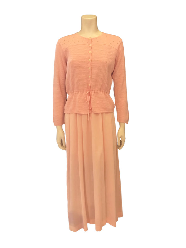 Light-pink, knit and cotton-gauze, square-neck, maxi dress with pink bow.