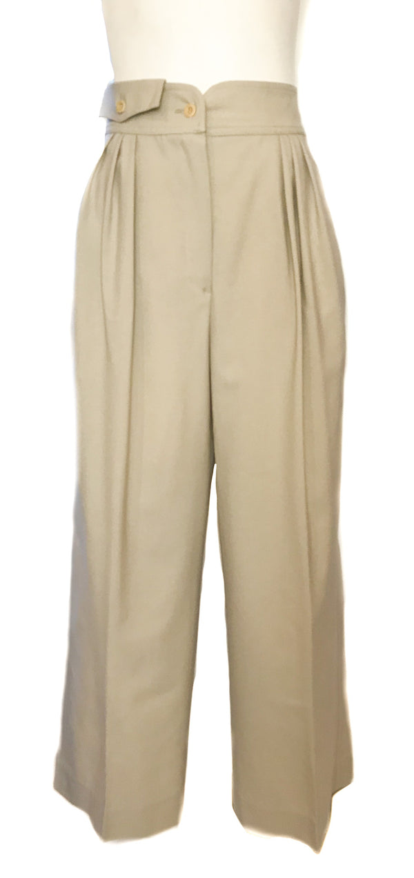 Front view of beige pleat front women's trousers by Crisca