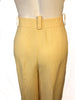 Closeup rear view of yellow linen women's trousers by Sonia Rykiel