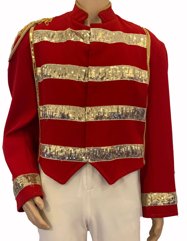 Red & Gold Embellished Band/Military Jacket