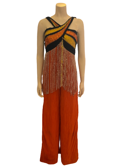 1970s Style Pleated Leg Disco Jumpsuit w/ Silver Beaded Fringe, Rhinestones & Sequins