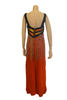 Costume orange rayon sleeveless jumpsuit with long plastic beads from bodice and beaded top