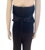 Black, halter-neck, jumpsuit with black, sequin bra-cups and garter-belt that is hooked to silver o-rings. Attached vegan-leather underbust.
