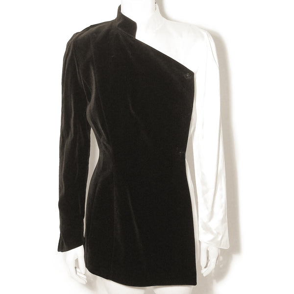Thierry Mugler 1980s Stunning White Satin & Black Velvet Evening Jacket