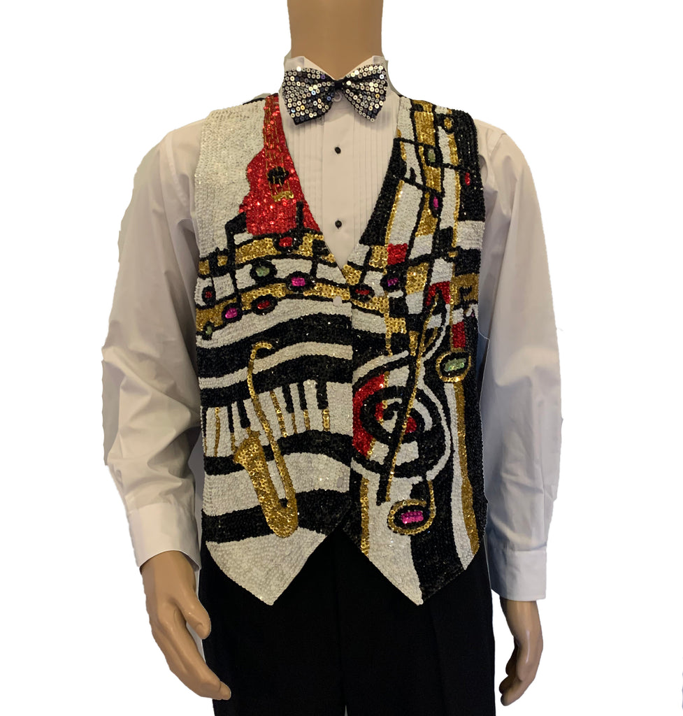 Sequin-front, snap-up vest with instrument & musical note motif. Black, white, gold, and red.