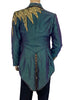 Mens Glam Rock Teal Tail Coat w Sequin Lightening Bolt Motif