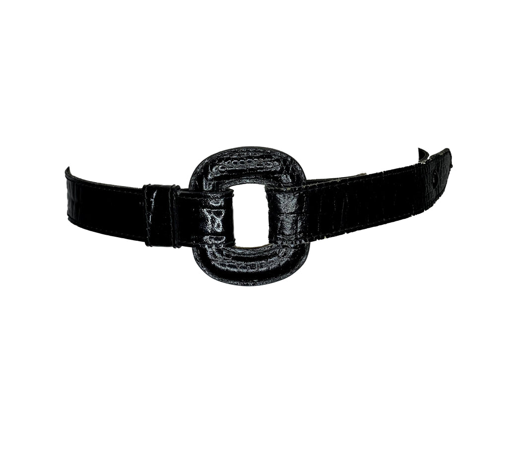 Black alligator patent leather belt with square black leather buckle.
