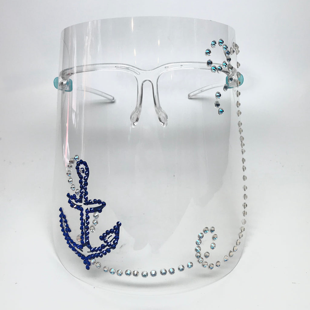 Nautical Inspired Glam Face Shield w/ Swarovski Crystal Anchor