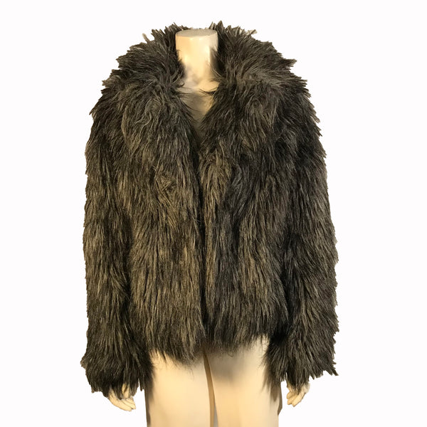Grey, shaggy faux-fur coat with shawl-collar.