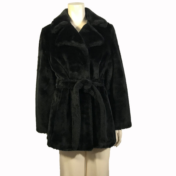 Front view of mannequin in a notched collar black faux fur trench coat
