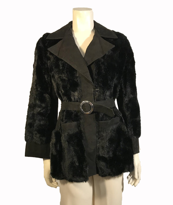 Black, faux-fur and suede coat with collar and belt.