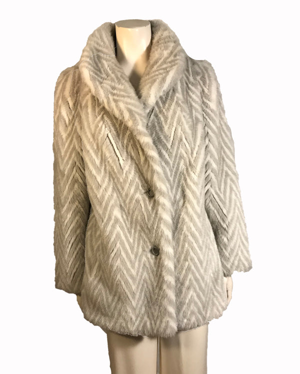 grey and white chevron pattern fake fur  jacket.  Three quarter length