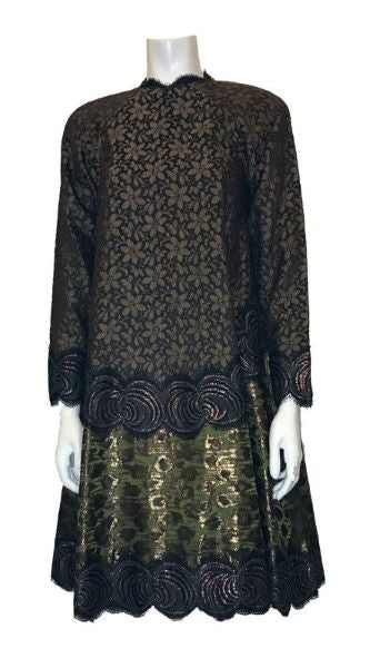 1980s Geoffrey Beene Lace & Jacquard Tent Dress