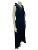 Side view of mannequin in 1970s sleeveless black maxi dress with ruffles at the neck and hem