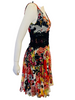 Floral Print Sleeveless Silk Dress w/ Black Lace Detailing