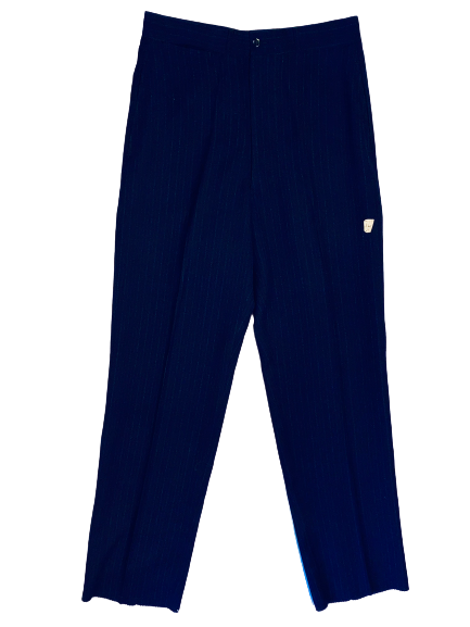 Item sold out. Front view of men's deadstock navy pinstripe pants