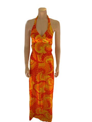 1970s Abstract Floral Halter Neck Maxi Dress