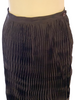Dark brown, floor-length, crinkle pleated skirt with brown button.