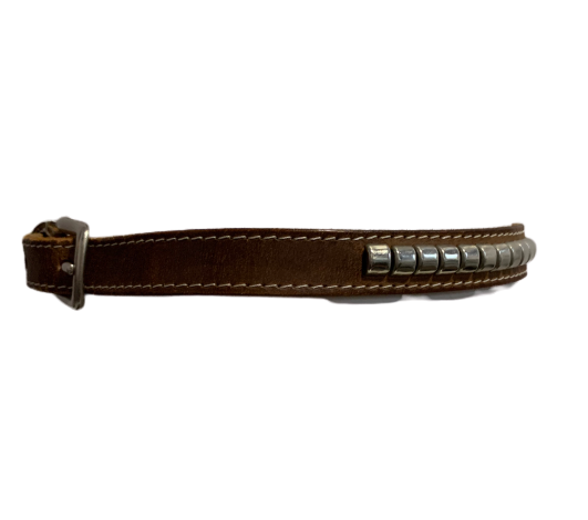 Early 1980s Banana Republic Brown Leather Belt with Studs