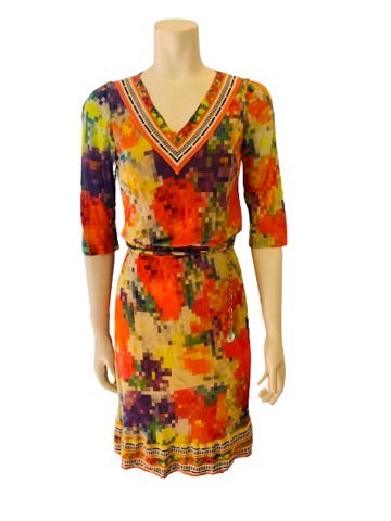 V-neck, knee-length dress with an orange, green, yellow, & purple pixelated floral-print.