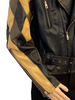 Black, zip-up leather jacket with diamond-shaped patchwork sleeves in black, brown, and tan.