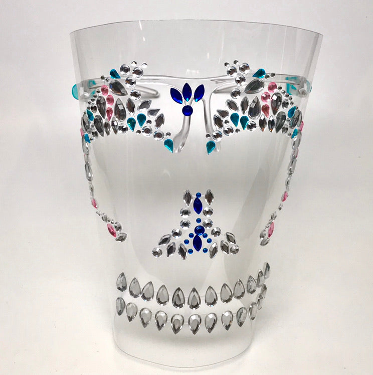 Glam Halloween Face Shield w/ Rhinestone Skull Motif