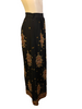 Maxi skirt in black silk chiffon with gold embroidery , sequins and rhinestones