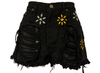 1990s Calvin Klein Black Denim Studded Distressed Shorts