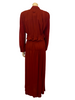 Rust color, ruched, floor-length, long-sleeve dress with loop at back of neck.