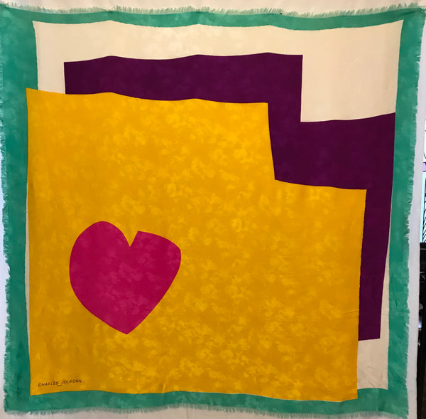 Charles Jourdan silk colorblock scarf in sea foam green, off white, and marigold with a hot pink heart