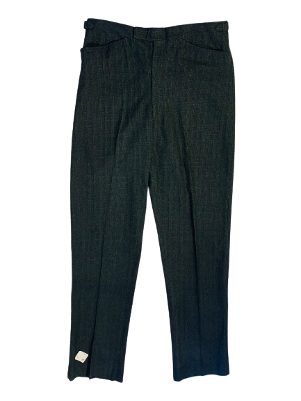 Front view of 1960s men's deadstock gray herringbone wool trousers