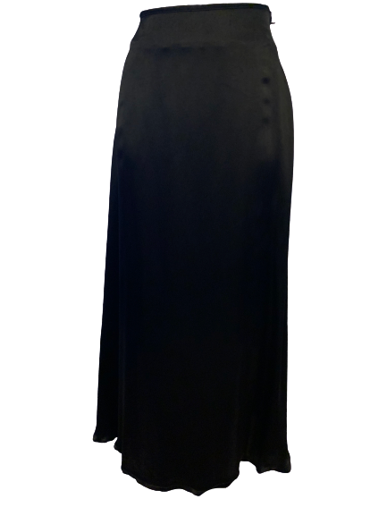 Black, flowy, thick-satin, midi-skirt. Front hem is longer than the back hem.