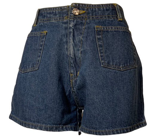 Navy denim, high-waisted shorts. 2 front patch pockets, zip front, and button at waist