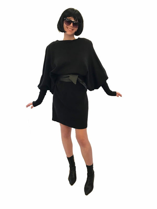 Black, stretch, dolman-sleeve, above-the-knee dress with oversized shoulder-pads.